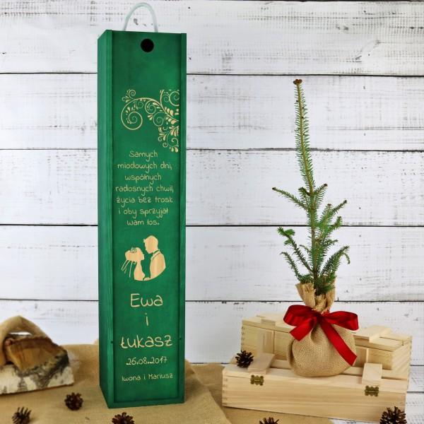 Sadzonka jodły balsamicznej w skrzyni z grawerem na prezent