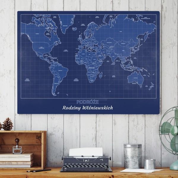 Mapa świata do zaznaczania podróży na prezent