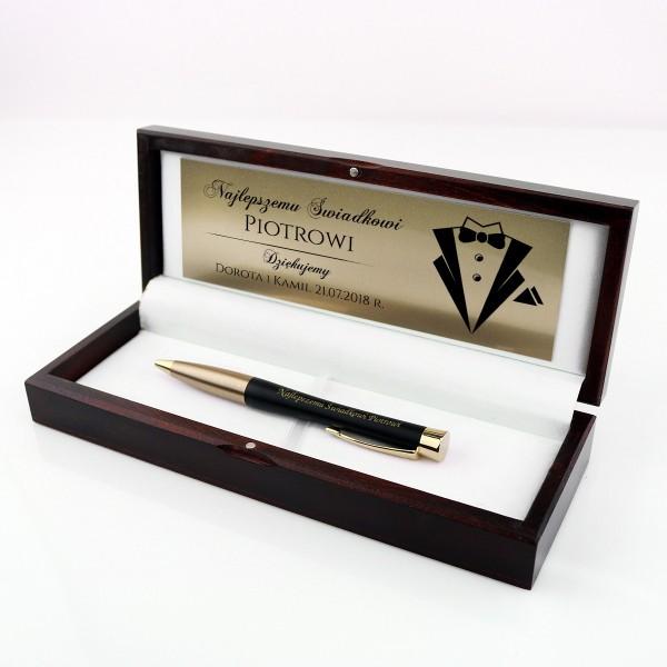 Prezent dla świadka z grawerem długopis Parker