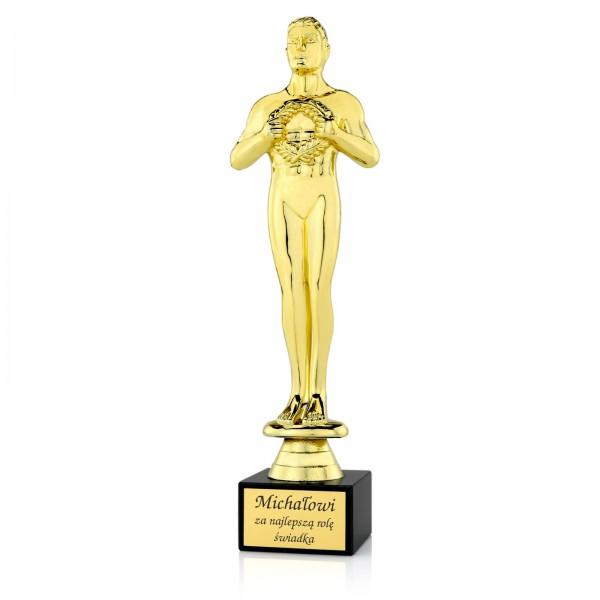 Pamiątka dla świadka weselnego statuetka Oscar z grawerem