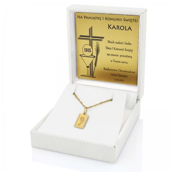 Biżuteria na prezent komunijny złoty medalik i łańcuszek