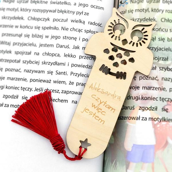 prezenty dla dziec na Mikołajki drewniana zakładka do książki sowa