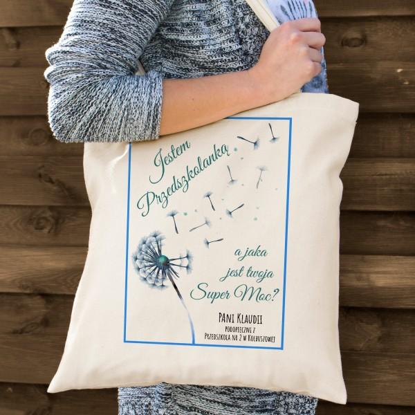 materiałowa torba z nadrukiem - prezent na Dzień Nauczyciela dla przedszkolanki